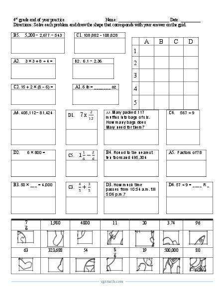 4th grade cumulative review activity puzzle worksheet