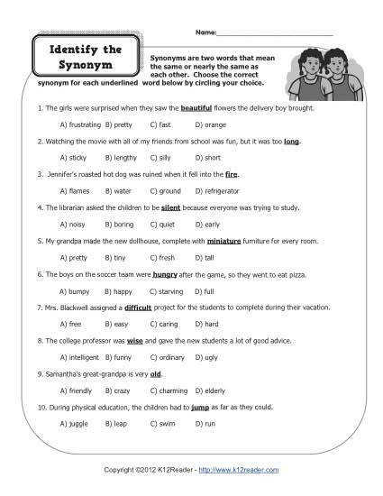 Free Parts of Speech Activity Identify the Synonym