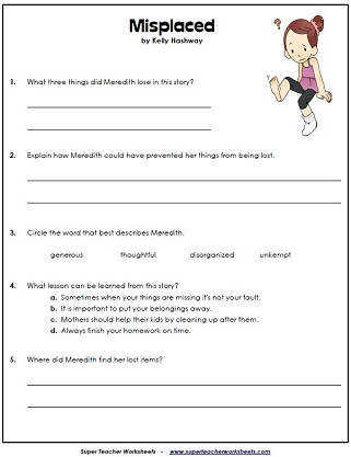 Reading prehension Questions Reading Worksheets