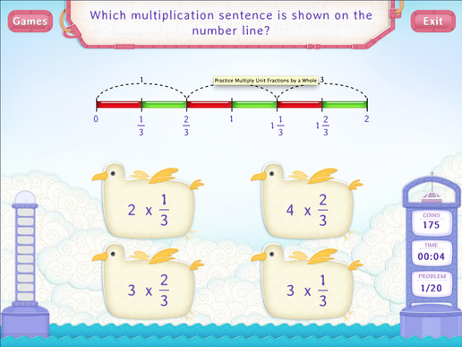 Multiply fractions by a whole Worksheet