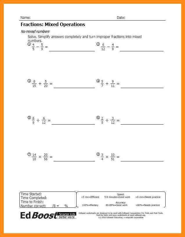 fraction operations worksheet Fractions Mixed Operations No Mixed Numbers Pic JPG
