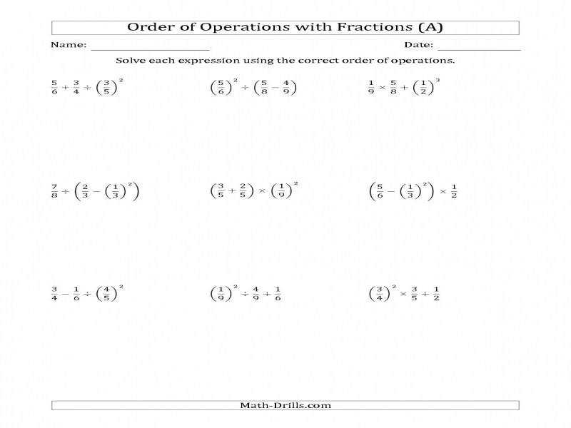 Order Operations With Positive Fractions Three Steps A