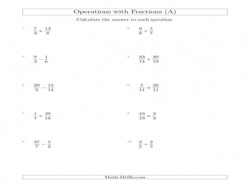 Mixed Operations With Two Fractions Including Improper Fractions A