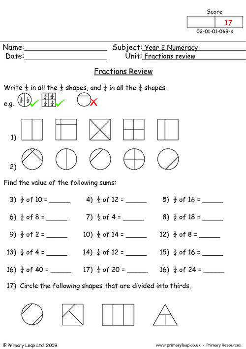 Fraction Review Addition Subtraction and Inequalities