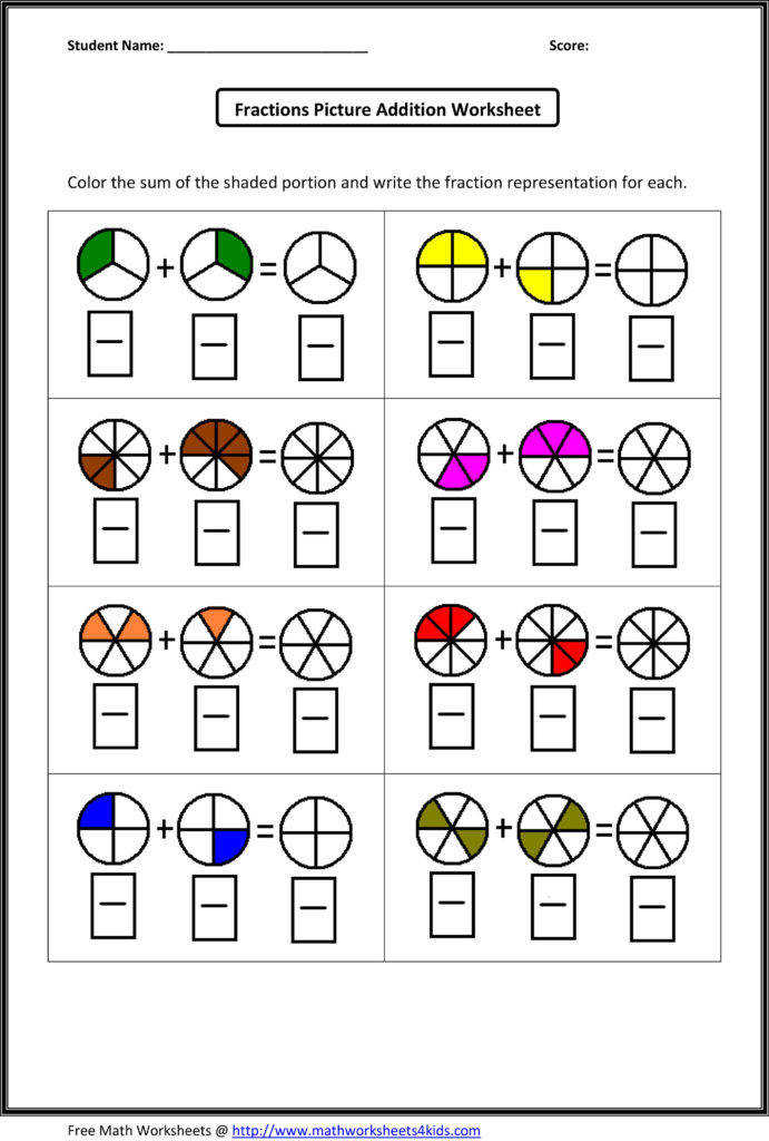 Fraction Review Worksheet Worksheets Math And In Writing Fractions Coloring Page