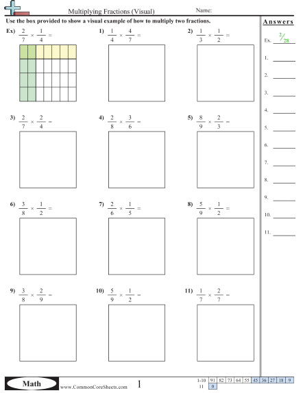 Multiplying Fractions Visual worksheet