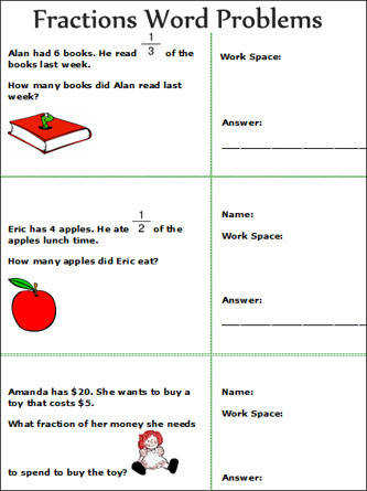 Printables Fraction Word Problems Worksheets Gozoneguide