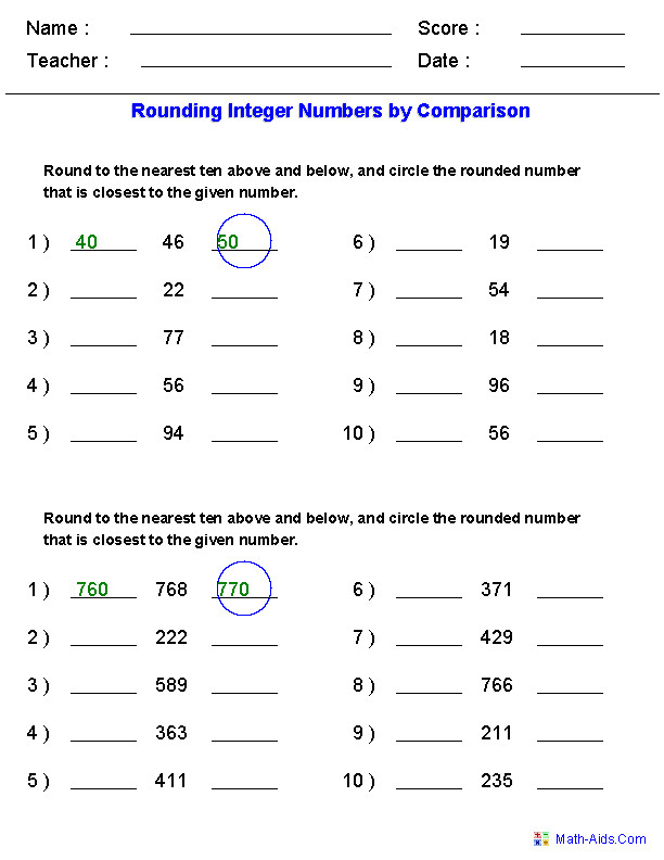 Rounding Worksheets for Integers by parison