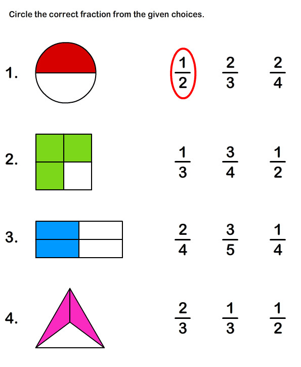 Learn Fraction Worksheet 1