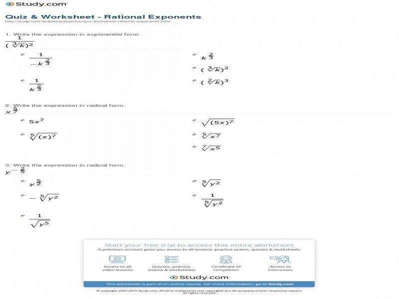 Quiz & Worksheet Rational Exponents