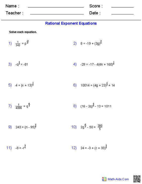 Rational Exponents 4 Students are asked to rewrite expressions Free exponents worksheets