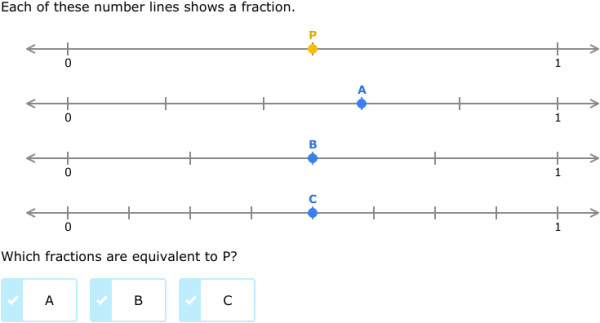 IXL Identify equivalent fractions on number lines 3rd grade math practice