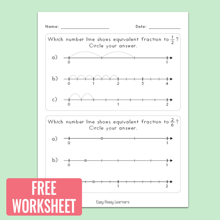 Free Fractions on A Number Line Worksheet