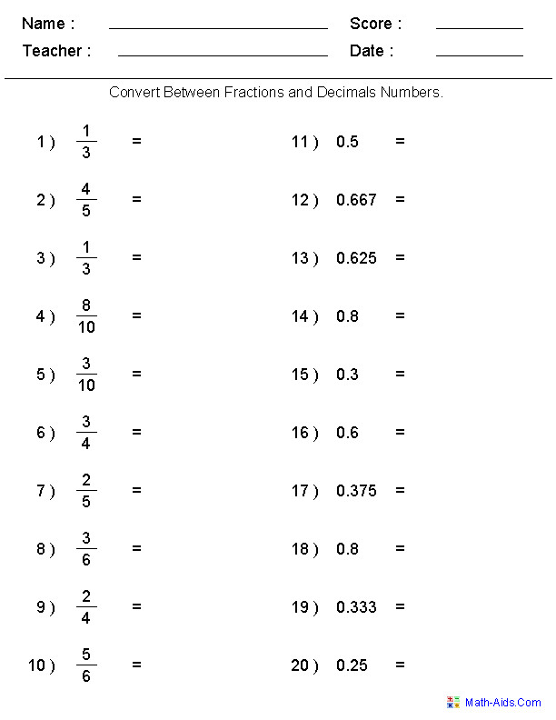 Converting Between Fractions & Decimals Worksheets teacher generated worksheets on all sorts of fraction conversions