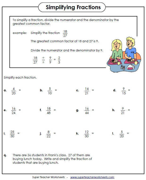 Simplifying Fractions Worksheet