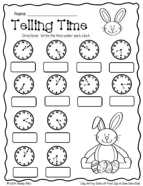 Easter Math Telling time FREE Second grade Math tell and write time to the nearest five minutes