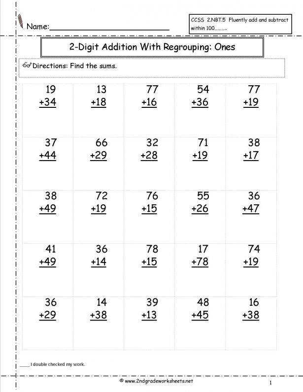 Kids Free Math Worksheets And Printouts Twodigitadditionwithregroupingonesplace25problems1 math worksheets to print for 2nd graders