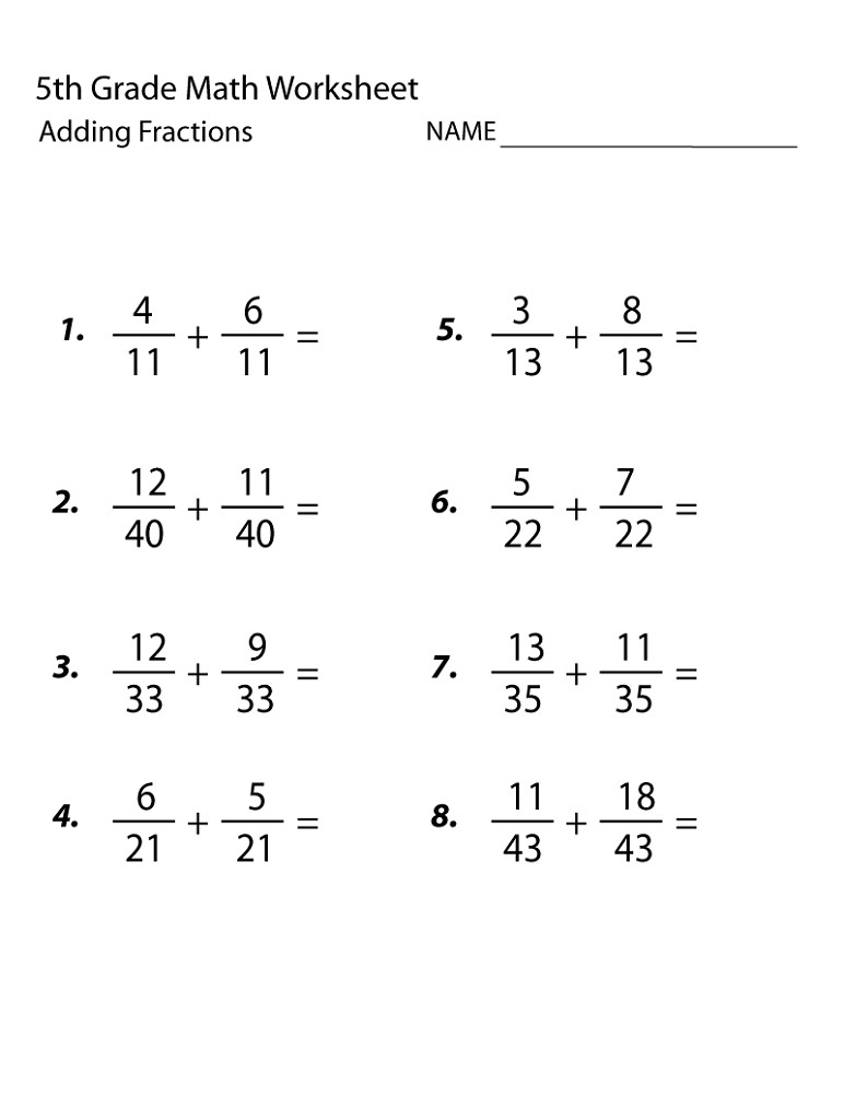 free 5th grade math worksheets fraction