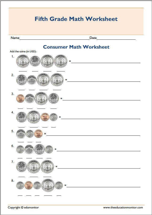 5th grade consumer math test worksheet