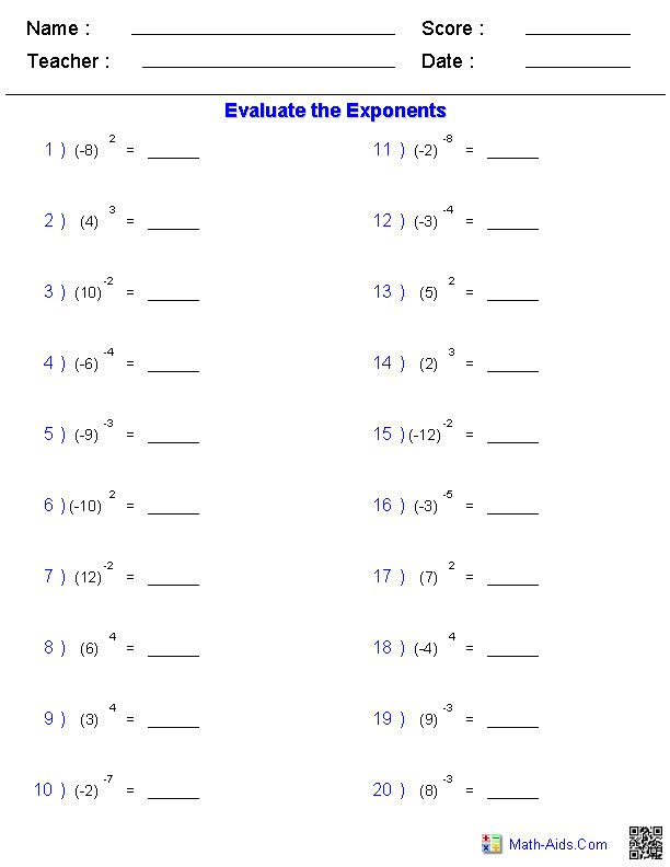 Math Worksheets · Exponents Worksheets
