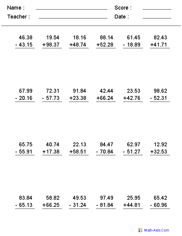 Adding & Subtracting Decimal Numbers Mixed Problems Worksheets