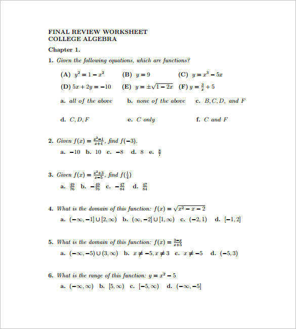 College Algebra Worksheets Printable