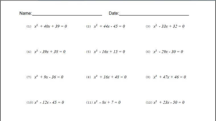 Algebra Quadratic Equations