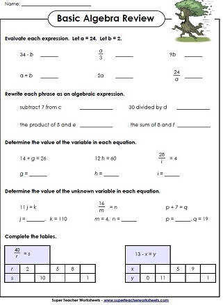 Basic Algebra Printables