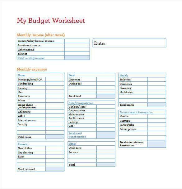 My Bud Worksheet Example PDF Template Free Download
