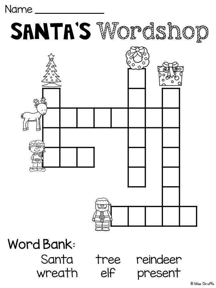 FREE Christmas worksheets that are a lot of fun Christmas crossword
