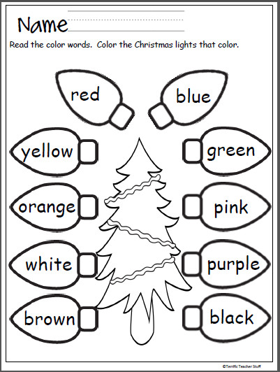 Free Christmas lights coloring activity that provides practice with color words Terrific for Pre
