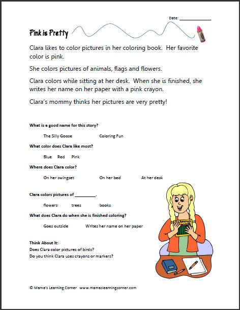 Free Kindergarten Reading prehension Worksheets