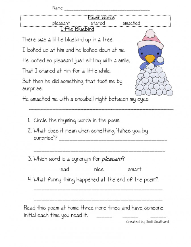 Fun In First Grade Fluency prehension And Vocabulary Reading Worksheets For Kindergarten Free 5175e b9b28cf93d42f9a4f Reading prehension