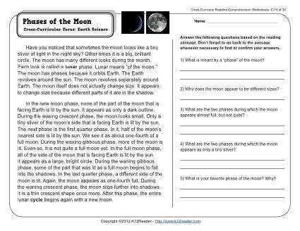 FREE Phases of the Moon printable reading prehension worksheet for grades 2 3