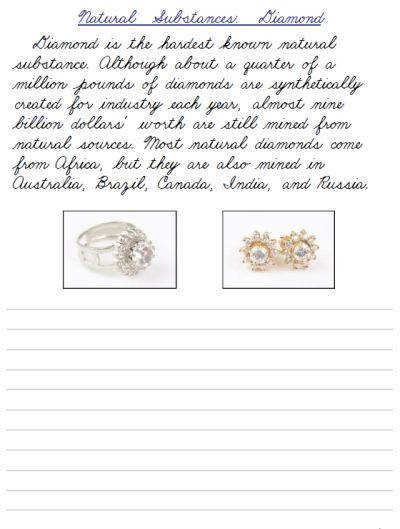 Natural Substances cursive handwriting practice worksheets FREE and easy to at PrintableCursive
