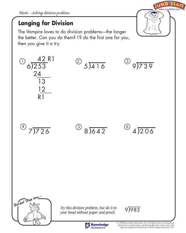 Longing for Division Free Division Worksheets and Problems for Kids JumpStart