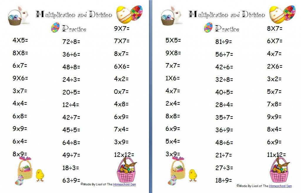 Easter Multiplication Div Math Worksheets