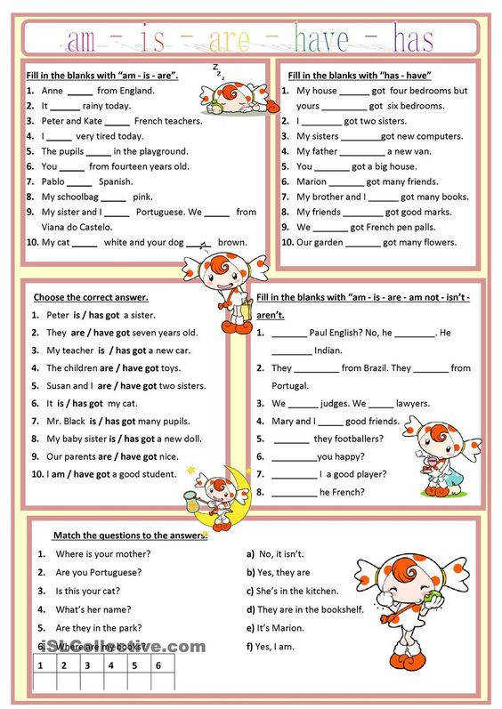 Am is are has have worksheet Free ESL printable worksheets made by teachers English Language Pinterest