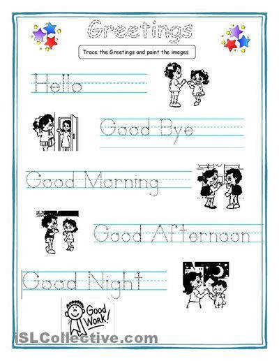 Greetings for kids worksheet Free ESL printable worksheets made by teachers esl Pinterest