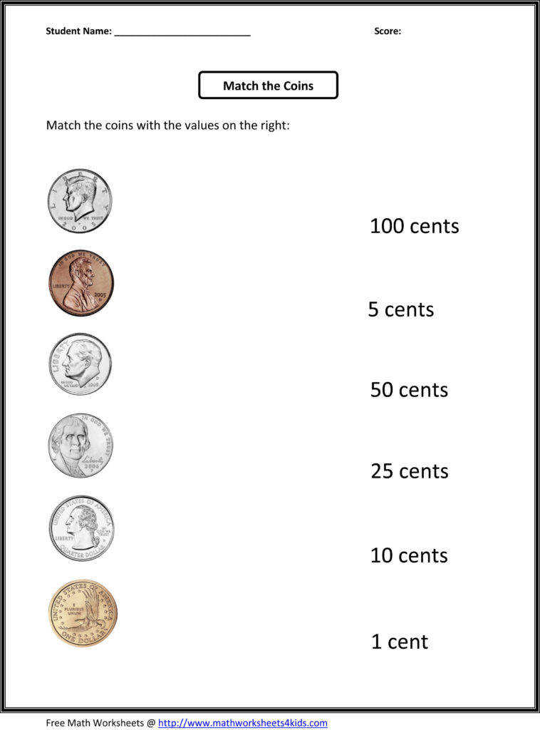 Free 1st Grade Worksheets Match The Coins And Its Values Throughout Money Math Coloring Page