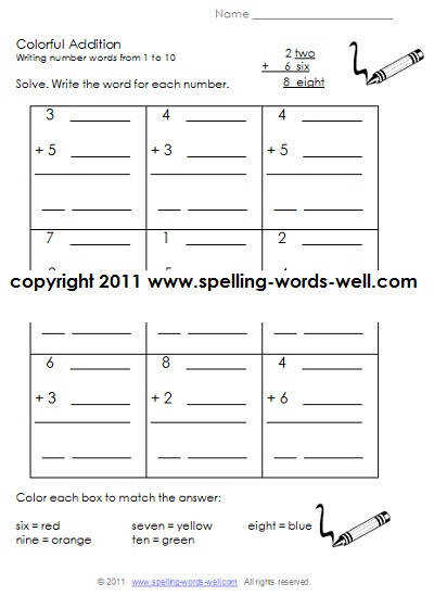 printable first grade worksheets Colorful Addition ""