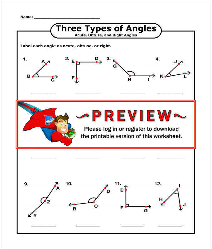 Three Types of Angles High School Geometry Worksheet Template
