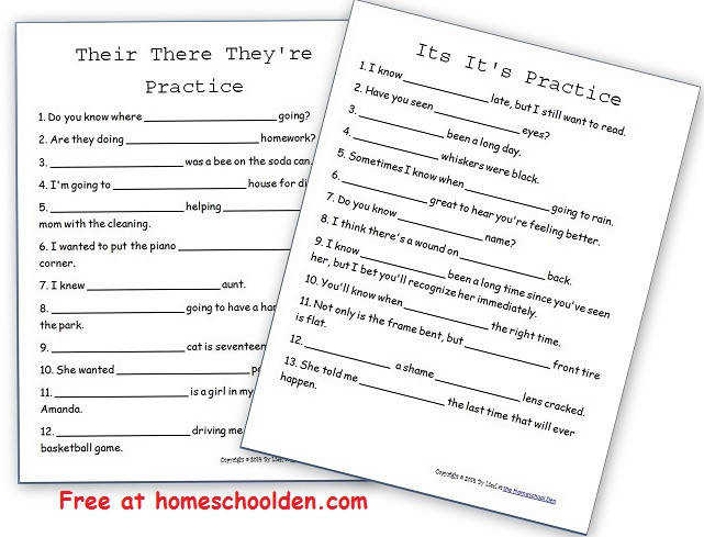 TheirThereTheyreItsIts PracticeWorksheet Other free grammar worksheets you can