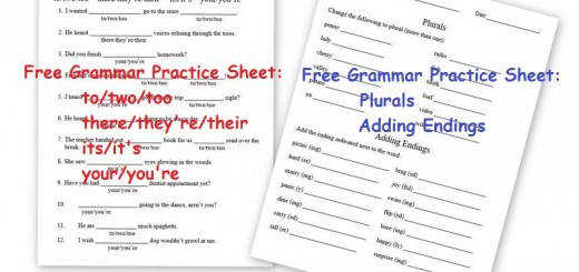 Free Grammar Practice Sheets – to two too there they re their AND Plurals Adding Endings
