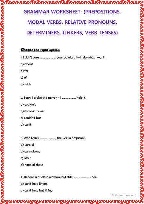 GRAMMAR WORKSHEET PREPOSITIONS MODAL VERBS RELATIVE PRONOUNS DETERMINERS LINKERS