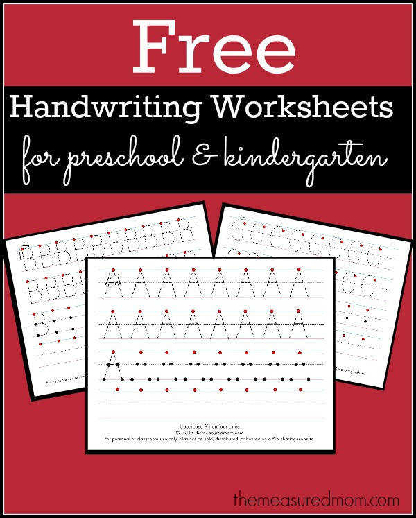 Free Printable Handwriting Worksheets for Preschool & Kindergarten The Measured Mom