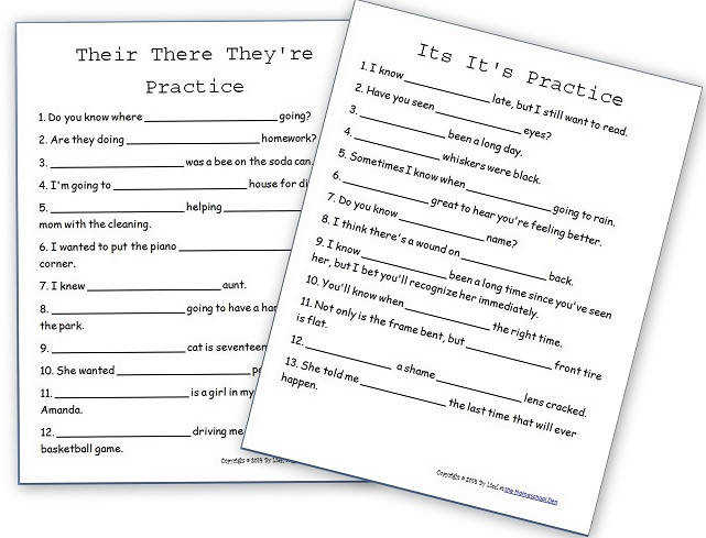 Their They re There – Its It s Free Practice Sheets Homeschool Den