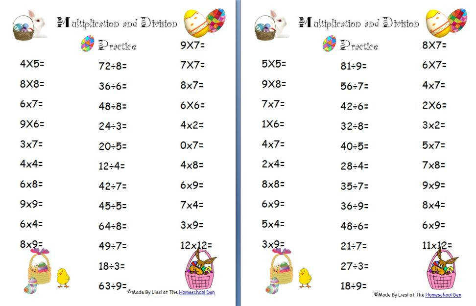 math worksheets game boards lapbook and more all free homeschool easter multiplication