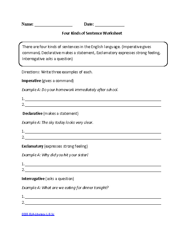 Language Arts Worksheets Free Printable Worksheets for Teachers