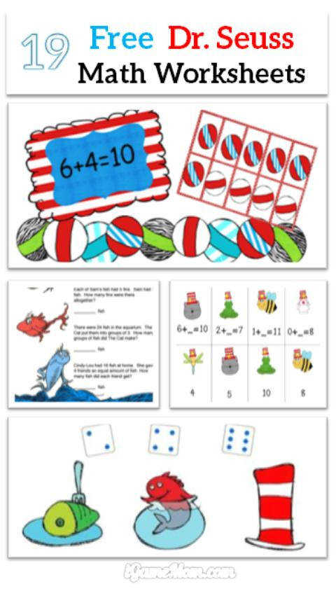 free Dr Seuss math worksheets for kids preschool to school age